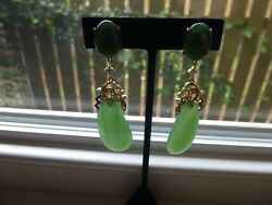 18K VINTAGE EXQUISITE LARGE JADE STONES & DIAMOND EARRINGS w MATCHING PENDANT