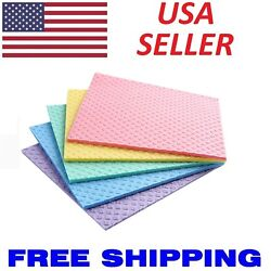 5pc Cleaning Cellulose Sponge Cloths Absorbent Wipes Kitchen Car Dish EcoFriendy