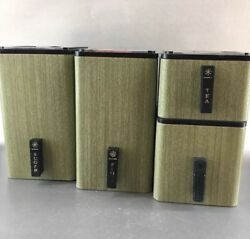 Set Of 4 Avocado Green Kromex Midcentury Modern Vintage Kitchen Canisters MCM