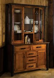 Amish Hickory Twig Log Hutch Dining Room Furniture Rustic Cabin Lodge