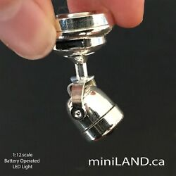 SILVER Spot light lamp ON OFF BATTERY BRIGHT dollhouse miniature 1:12 studio NEW $24.95