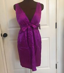 Single Sexy Short Silk Purple Party Cocktail Dress Medium Deep V Neck $12.99
