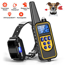 875 Yards Dog Training Collar Rechargeable Remote Shock Waterproof for S M L Dog $28.48