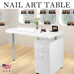 New White Wooden Manicure Nail Table Beauty Salon Station Desk Mobile Drawer
