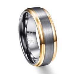 Men Edge Brushed Rings 8mm Wide Gold Color Tungsten Carbide Multi-Size Jewelry