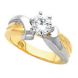 Round Diamond Solitaire Engagement Ring 14k Two Tone Gold 1 Ct (G-H  SI )