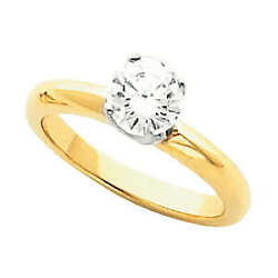 Round Diamond Solitaire Engagement Ring 14k Two Tone Gold 1 Ct (D-E  SI )