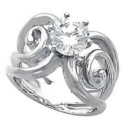 Round Diamond Solitaire Engagement Ring 14k White Gold 1 Ct (D-E  SI )