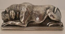 VERY RARE FIGURAL DOG STERLING OR COIN SILVER SNUFF BOX LIKELY AMERICAN C. 1850