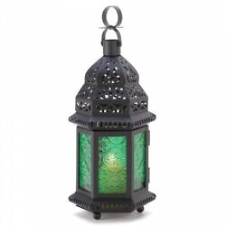 Lot of 10 Green Glass Moroccan Style Candle Lanterns Wedding Table Centerpieces $149.95