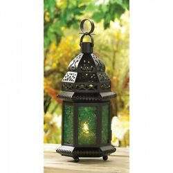 Lot of 5 Green Glass Moroccan Style Candle Lanterns Wedding Table Centerpieces $79.95