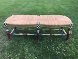Rare & Retired MacKenzie Childs Dark Flower Basket Bench