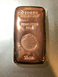 Germany Geiger 10 oz .9999 Poured Copper Bar (Mint Sealed With Serial Number)