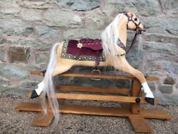 FULLY RESTORED GIRLS PALOMINO ROCKING HORSE - ANTIQUE HORSE WITH HISTORY