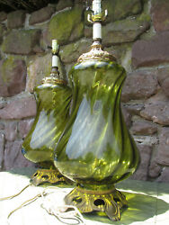 1960s Pair Vintage Green Optic Swirl Glass Accurate Casting Lamps Regency Style $375.00