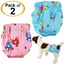 PACK 2 Colors Dog Female Diapers 100% COTTON Panties For SMALL Pet Cat XS S M $14.99