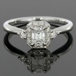 Gabriel & Co White Gold Emerald Diamond GIA Certified Halo Engagement Ring $3000