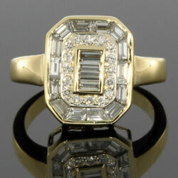 Yellow Gold 1.00ctw Baguette & Round Diamond Halo Ring MSRP: $4500