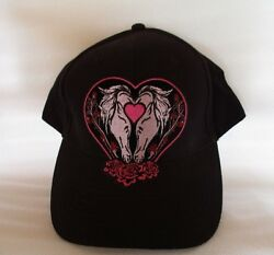 Horses love heart 100% Cotton Cap Hat Embroidered Design Men's Shed