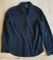 Dialogue stretch black dress shirt. Women#x27;s Small. Polyester rayon spandex.