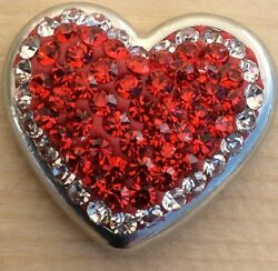 :)Snap Chunk Button Heart Red Rhinestone Charm For Ginger Snap Style Jewelry