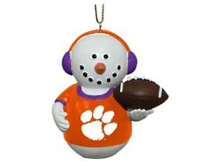 Clemson Tigers Snowman in Earmuffs Football Ornament New in Box Memory Company