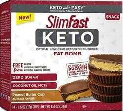 2 boxes SlimFast Keto Fat Bomb Peanut Butter Cups  .06 OZ (17g) equal 28 pieces!
