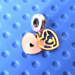925 Sterling Silver Path to Love Rose Pink Crystal Enamel Dangle European Charm