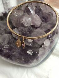 375 9Kt Solid Yellow Gold  Oval  Bangle Dangle Pink Sapphire Bracelet