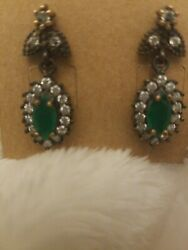 NEW Small MARQUISE EMERALD Mini Drop Earrings .925 with Rhodium HANDMADE $19.99