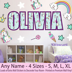 Childrens Kids Name Wall Stickers Art Decal Personalised Unicorn Girls Bedroom GBP 19.99