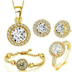 Hot gold plated fashion jewelry set  Zircon earring necklace bracelet ring 4pc