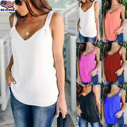 Women Vest Sleeveless Loose Camisole Casual Strappy V-Neck Cami Tank Tops Blouse