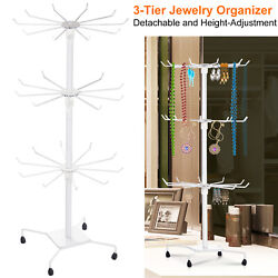 3-Tier Metal Jewelry Rack 30-Hook Necklaces Bracelets Display Stand Tower Holder