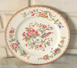 Fine English Porcelain Plate Exotic Bird Flowers Great Colors