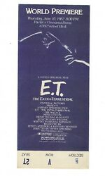 Original E.T. The Extra-Terrestrial (1982) World Premiere Ticket EXTREMELY RARE