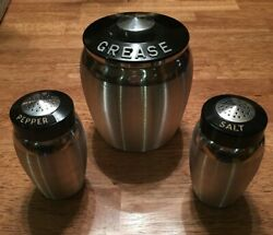 GREAT  Vintage Kromex Spun Aluminum Grease Jar Canister w Strainer