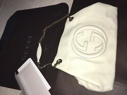 Gucci Soho Beautiful Leather Carrying Bag in box ivory light gold accents *nice