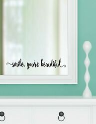 SMILE YOU#x27;RE BEAUTIFUL vinyl wall decal sticker bathroom decor tub home mirror 1 $9.95