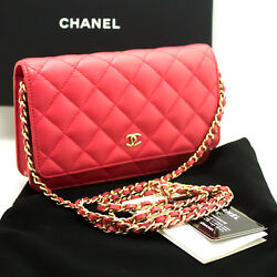 n06 CHANEL Authentic Caviar Wallet On Chain WOC Pink Shoulder Bag Crossbody