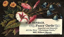 1880's H. N. Harbach Fancy Christmas Cards Victorian Trade Card P128