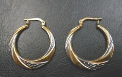 Sterling Silver Pierced Hoop Earrings with 10KT Gold Plating (#E-30)