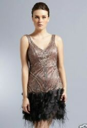 $438 Sue Wong Beaded GATSBY Sz 4 Ostrich Feather Cocktail Flapper Dress N0346 $299.00