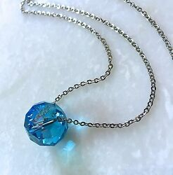 Turquoise Crystal Necklace Oval Faceted Single Bead on 26