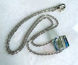Turquoise Crystal Necklace Single Faceted Cube Bead on 16