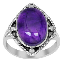 5.5 Ct Oval 925 Sterling Silver Ring Genuine Purple Amethyst Ring Size 78 #104