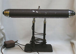 Vintage Mid Century Desk Lighting Double Adjustable Supports Works Push Button $39.00