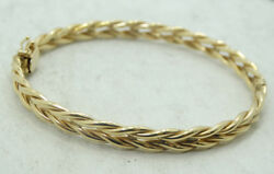 14K Yellow Gold Wheat Link Style Hinge Bangle Bracelet 7 Inch 9.2g D1363 $480.99