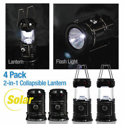 4-Pack Collapsible Solar Powered Outdoor Camping Lantern Light LED Hand Lamp USA