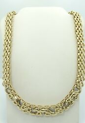 Heavy 14K Y & W Gold Panther Link Chain With Panthers Necklace 16.5